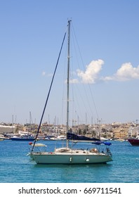 Sailboat in a marina. Picture was taken on Malta.