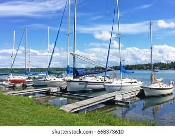 Sailboat in the marina in Suttons Bay along Lake Michigan in northern Michigan
