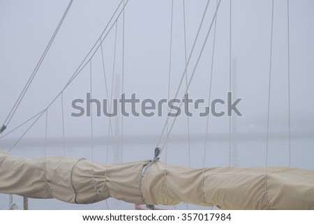 Sailboat Masts Rolled Sails Heavy Fog Stock Photo (Edit Now