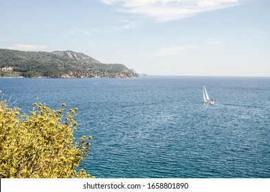 Sailboat in the Mediterranean Sea in Greece