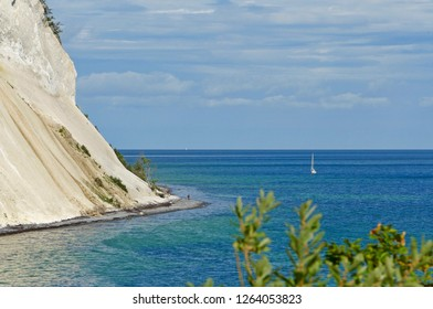 A sailboat at Mons Klint, Island of Mon, Denmark