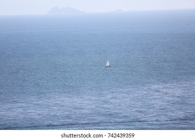 Sailboat near California in the Pacific Ocean
