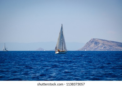 sailboat near greek islands seascape