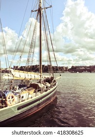 Sailboat near Stockholm, Sweden. Retro styled image.