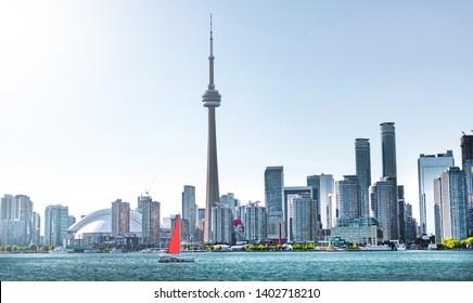 Sailboat near Toronto city in Canada