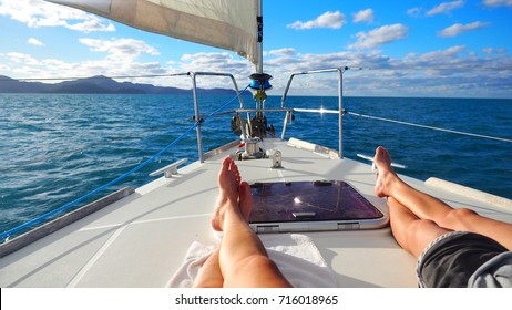Sailboat in the ocean on luxury lifestyle happy adventure travel vacation.