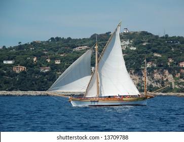 Sailboat off the French Riviera coast