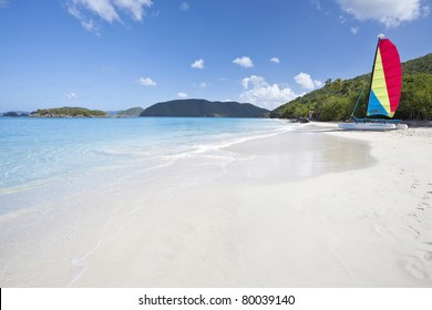 Sailboat on the beach in Cinnamon Bay on St. John in US Virgin Islands