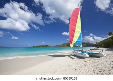 Sailboat on a beach in Cinnamon Bay on the north shore of St. John in US Virgin Islands