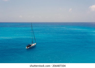 A sailboat on the Ionian sea, in Greece
