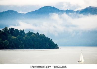 Sailboat on Lake Lucerne, Switzerland