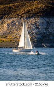 Sailboat on Lake Meade reservoir