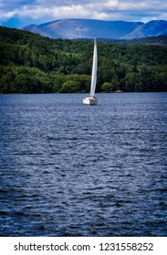 Sailboat on Lake Windermere, on the Lake District in Bowness, England