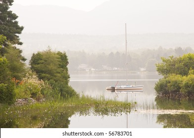 Sailboat on a quiet and peaceful morning