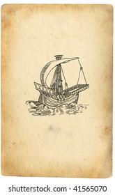 Sailboat on retro paper