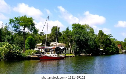 Sailboat on river in Alabama