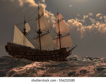 Sailboat On The Sea 3D Illustration