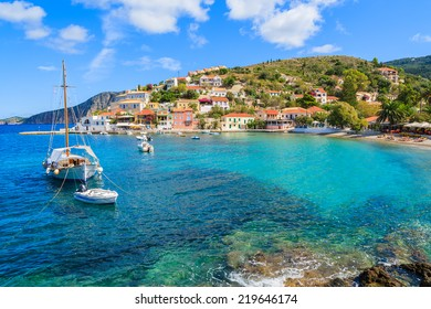 Sailboat on sea in Assos village, Kefalonia island, Greece
