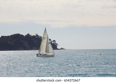 Sailboat on the sea with blue sky