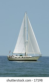 Sailboat on the water - vertical crop