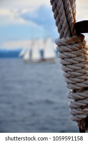 Sailboat Rigging Ropes with blur sailboat as background