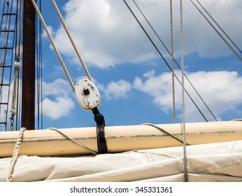 Sailboat Rigging Showing Boom, Sail and Block and Tackle