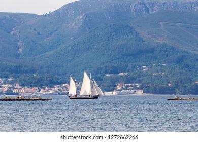 Sailboat sailing between mussel aquaculture rafts in Arousa bay
