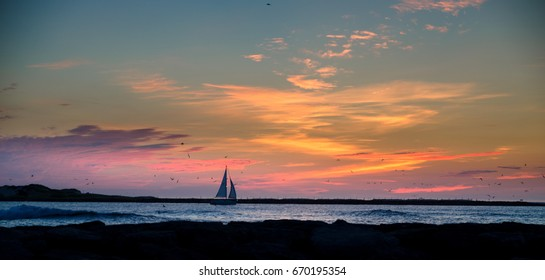 sailboat sailing into sunrise sunset with seagulls flying