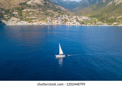Sailboat sailing in the mediterranean
