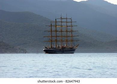 A sailboat at sea
