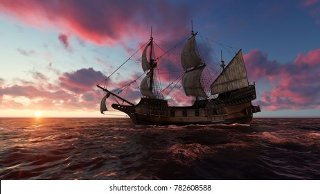 Sailboat at sea in the evening at sunset 3d illustration