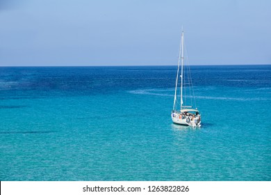 Sailboat in the sea luxury summer adventure, active vacation in Mediterranean sea, Ibiza island