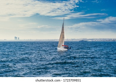 Sailboat in the sea  over sky background in Istanbul, Turkey. Luxury summer adventure or active vacation concept.