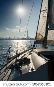 Sailboat and seascape with city skyline at distant, Toronto, Canada