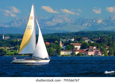 Sailboat in summer on Lake Constance near the town Romanshorn