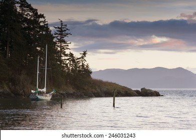 Sailboat at Sunset. A sailboat anchors off of Lummi Island in the San Juan Islands of Puget Sound, Washington state.