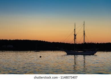 Sailboat Sunset Silhouette - Maine, USA
