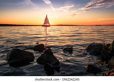 Sailboat in the sunset at Steinhuder Meer  - Shutterstock ID 1962242245