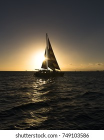 Sailboat at sunset, Waikiki Beach Hawaii