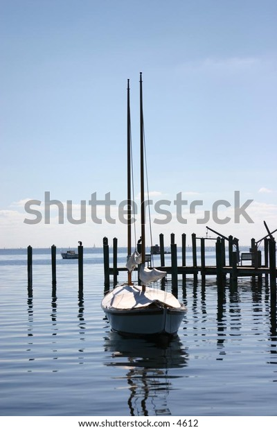 sailboat  waiting in the harbour
