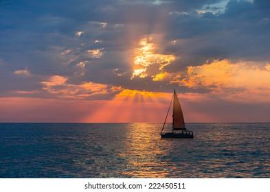 Sailboats against beautiful sunset