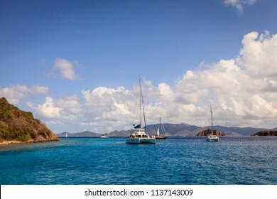 Sailboats anchored in a harbor in British Virgin Islands