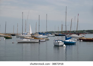 Sailboats are anchored in Vineyard Harbor, Martha's Vineyard, Massachusetts