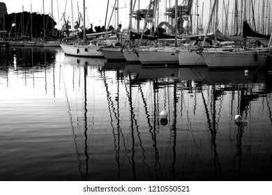 sailboats in the beautiful port of Palermo, Sicily