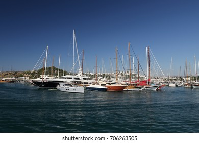 Sailboats in Bodrum Marina, Mugla City, Turkey