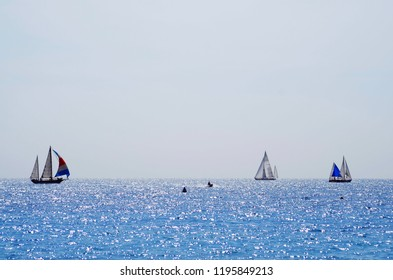 Sailboats at the coast of Nice, France