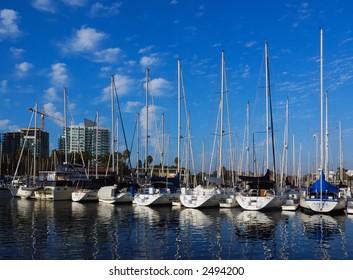 Sailboats Docked At Marina