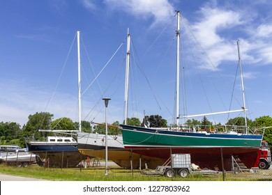 Sailboats at dry Marina for repair and conservation work