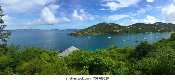Sailboats in Great Cruz Bay harbor, St. John, USVI, Virgin Islands, Caribbean