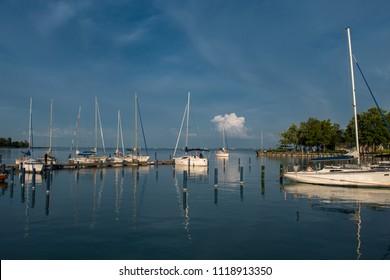 Sailboats in Harbor at Lake Balaton in Hungary